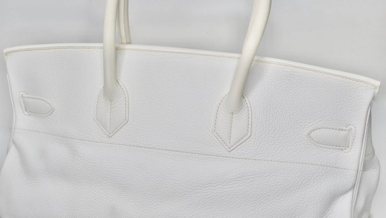 Hérmes 42cm White Clemence JPG Shoulder Birkin  For Sale 10