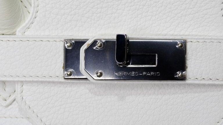 Gray Hérmes 42cm White Clemence JPG Shoulder Birkin  For Sale