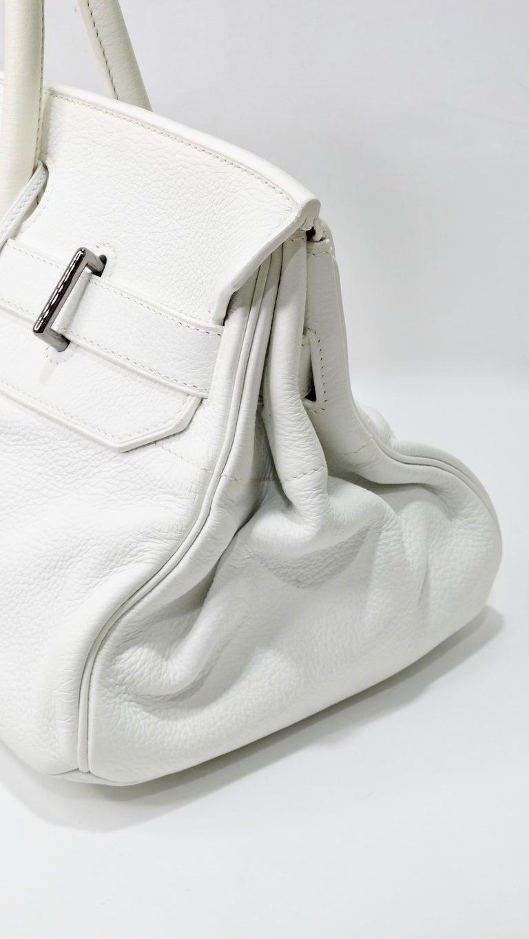 Hérmes 42cm White Clemence JPG Shoulder Birkin  In Good Condition For Sale In Scottsdale, AZ