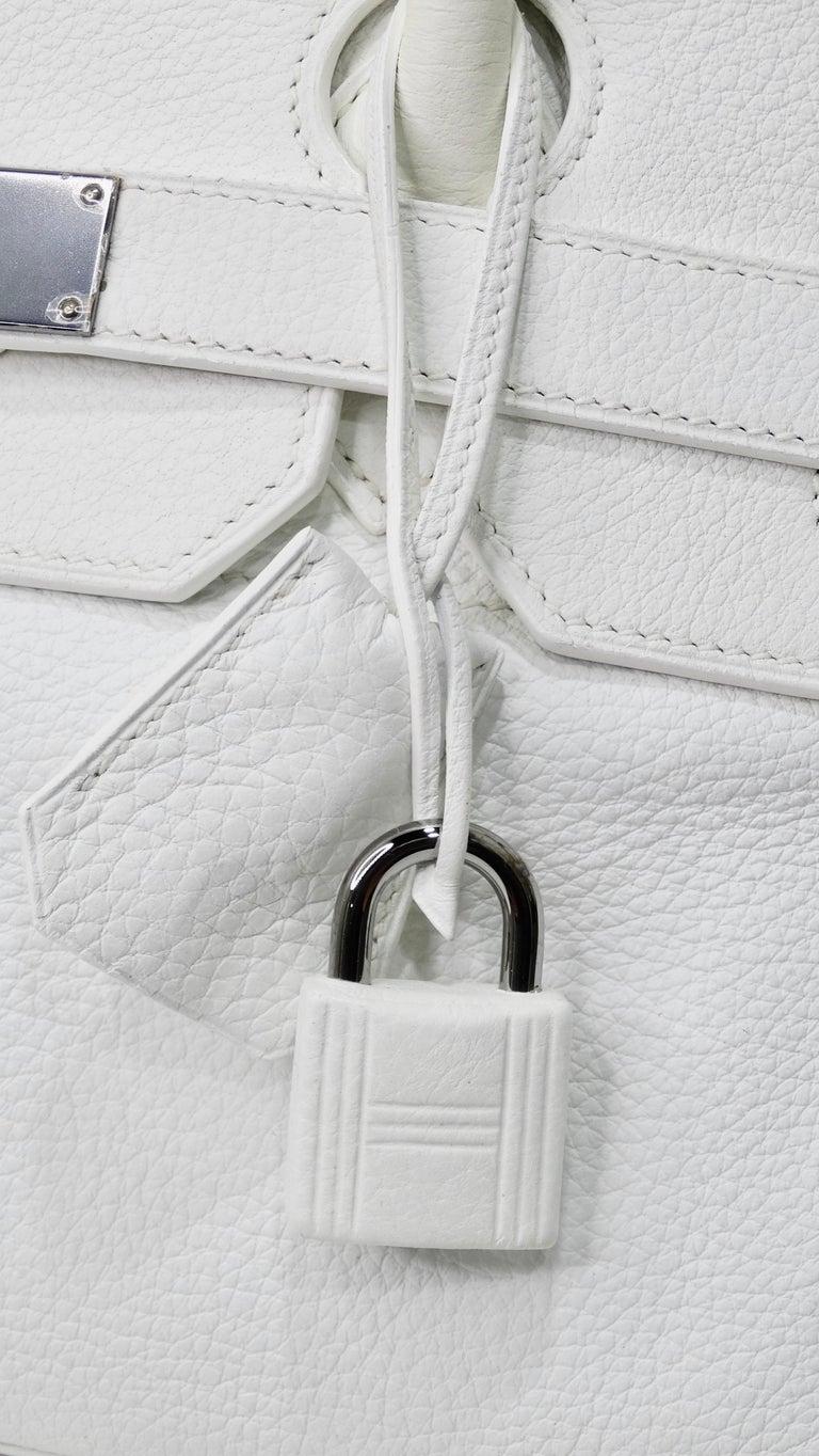 Women's or Men's Hérmes 42cm White Clemence JPG Shoulder Birkin  For Sale