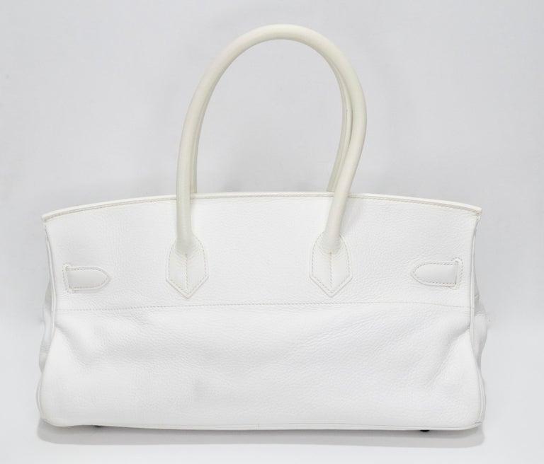 Hérmes 42cm White Clemence JPG Shoulder Birkin  For Sale 1