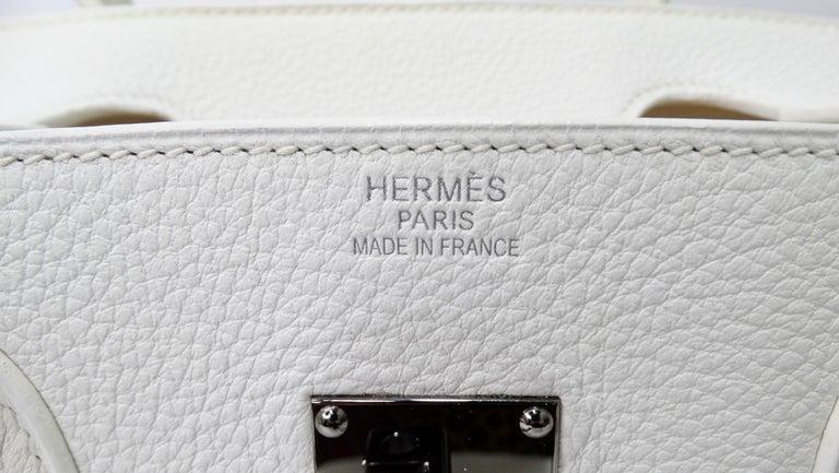 Hérmes 42cm White Clemence JPG Shoulder Birkin  For Sale 2