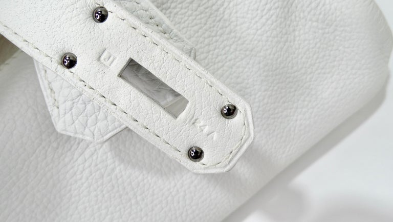 Hérmes 42cm White Clemence JPG Shoulder Birkin  For Sale 4