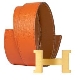 Hermes 42mm Constance Belt Orange / Gold Brushed Gold Buckle 100 New w/Box