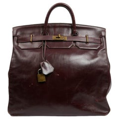 "Hermes 45 ""Haut à courroies"" Vintage Burgundy Box Leather Bag"
