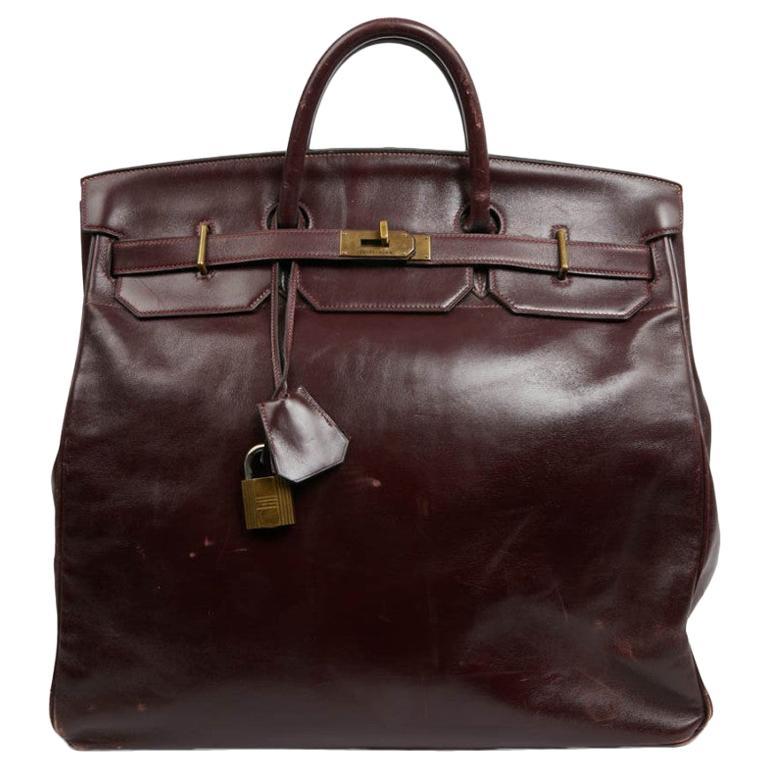 """Hermes 45 """"Haut à courroies"""" Vintage Burgundy Box Leather Bag  For Sale"""