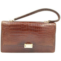1b29a31cca28 Hermes 60's Vintage Brown Croco Vintage Bag