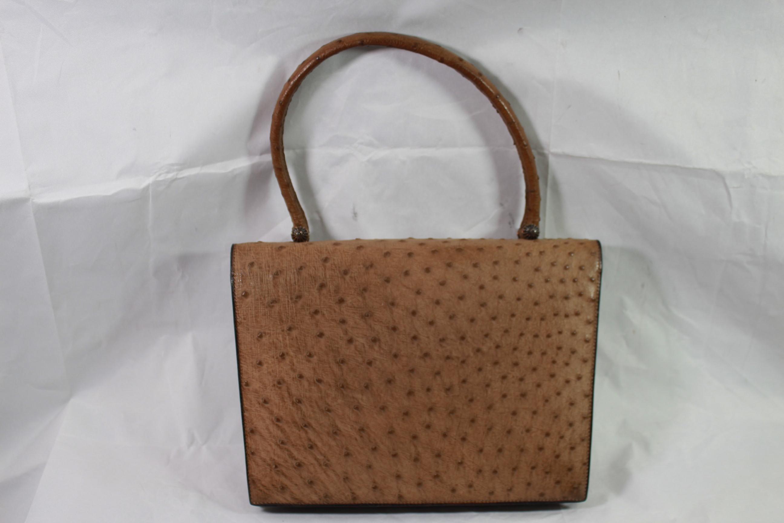 43755b991dc Hermes 60 s Vintage Brown Ostrich Bag For Sale at 1stdibs