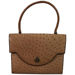 Hermes 60's Vintage  Brown  Ostrich Bag