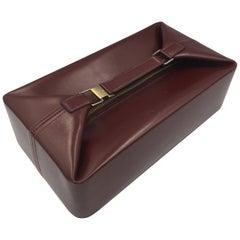 Hermes 60's Vintage Burgundy Leather Jewelery Case / Vanity