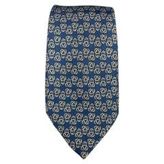 HERMES 792 MA Blue & Cream Knot Print Silk Tie