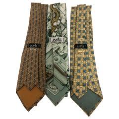 HERMES a Trio of Vintage Ties Including Rare 1992 Azulejos du Palais de Queluz