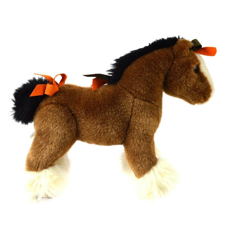 Hermes Acrylic Brown Orange White Horse Children Plush Novelty Toy  In Good Condition For Sale In Chicago, IL