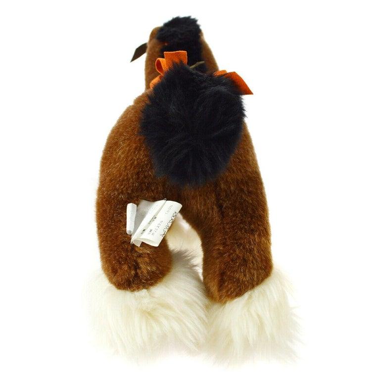 Women's Hermes Acrylic Brown Orange White Horse Children Plush Novelty Toy  For Sale