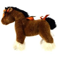 Hermes Acrylic Brown Orange White Horse Children Plush Novelty Toy