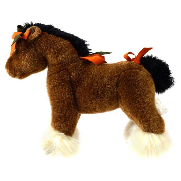 Hermes Acrylic Brown Orange White Horse Children Plush Novelty Toy  For Sale