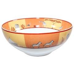 Hermès Africa Orange Large Porcelain Salad Bowl with Safari Design