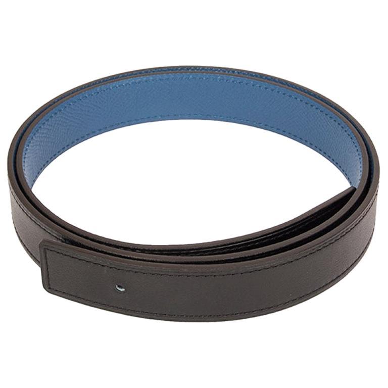 HERMES Agate Blue Black 24mm Reversible Belt Strap 75 Epsom Swift leather