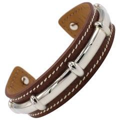 Hermès Agatha Bamboo Leather Bracelet Cuff