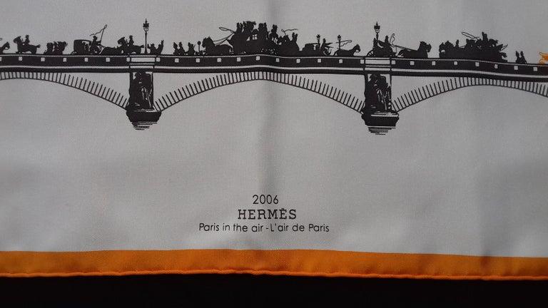 Gray Hermès Air de Paris Carré Gavroche Pochette Paris in the Air Silk Scarf, 2006