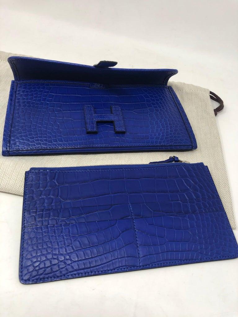 Hermes Alligator Bleu Electrique Jige Duo Wallet   For Sale 6
