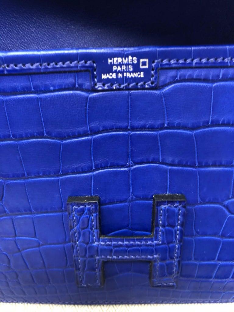 Hermes Alligator Bleu Electrique Jige Duo Wallet   For Sale 7