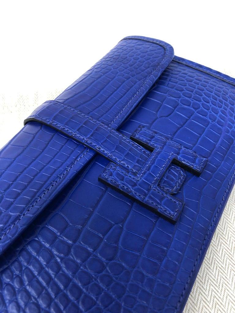 Hermes Alligator Bleu Electrique Jige Duo Wallet   For Sale 10