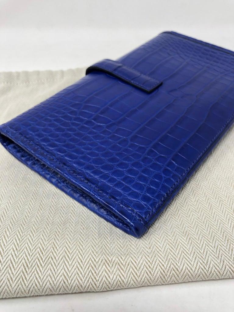 Hermes Alligator Bleu Electrique Jige Duo Wallet   For Sale 11