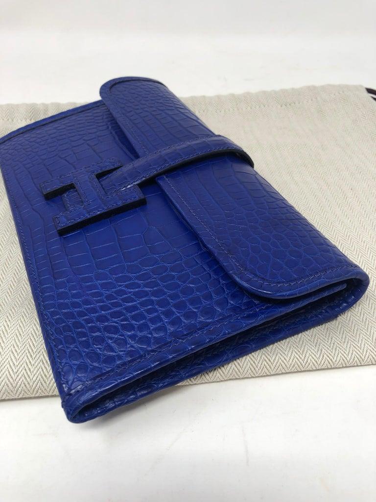 Hermes Alligator Bleu Electrique Jige Duo Wallet   For Sale 12