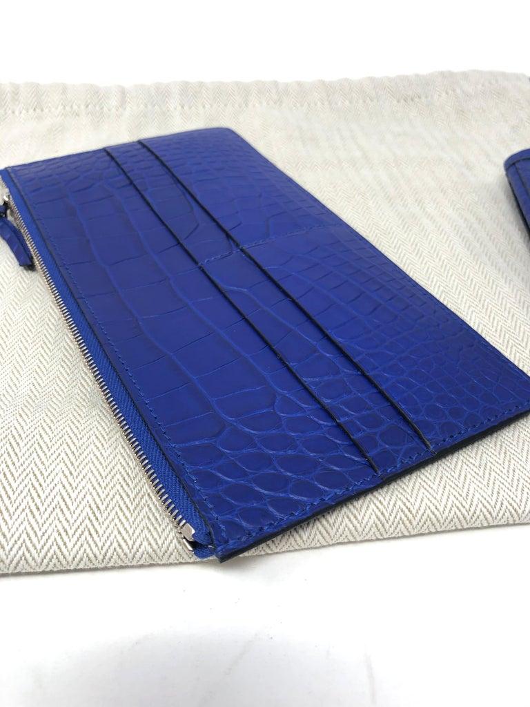Hermes Alligator Bleu Electrique Jige Duo Wallet   For Sale 13