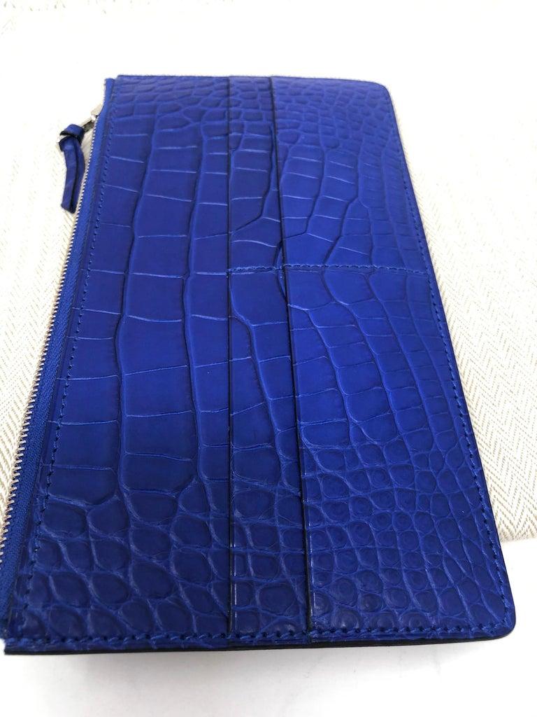 Hermes Alligator Bleu Electrique Jige Duo Wallet   For Sale 14
