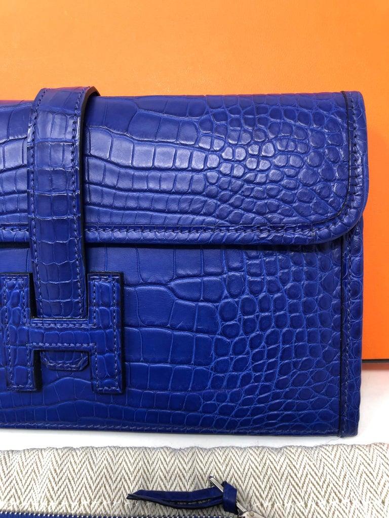 Purple Hermes Alligator Bleu Electrique Jige Duo Wallet   For Sale