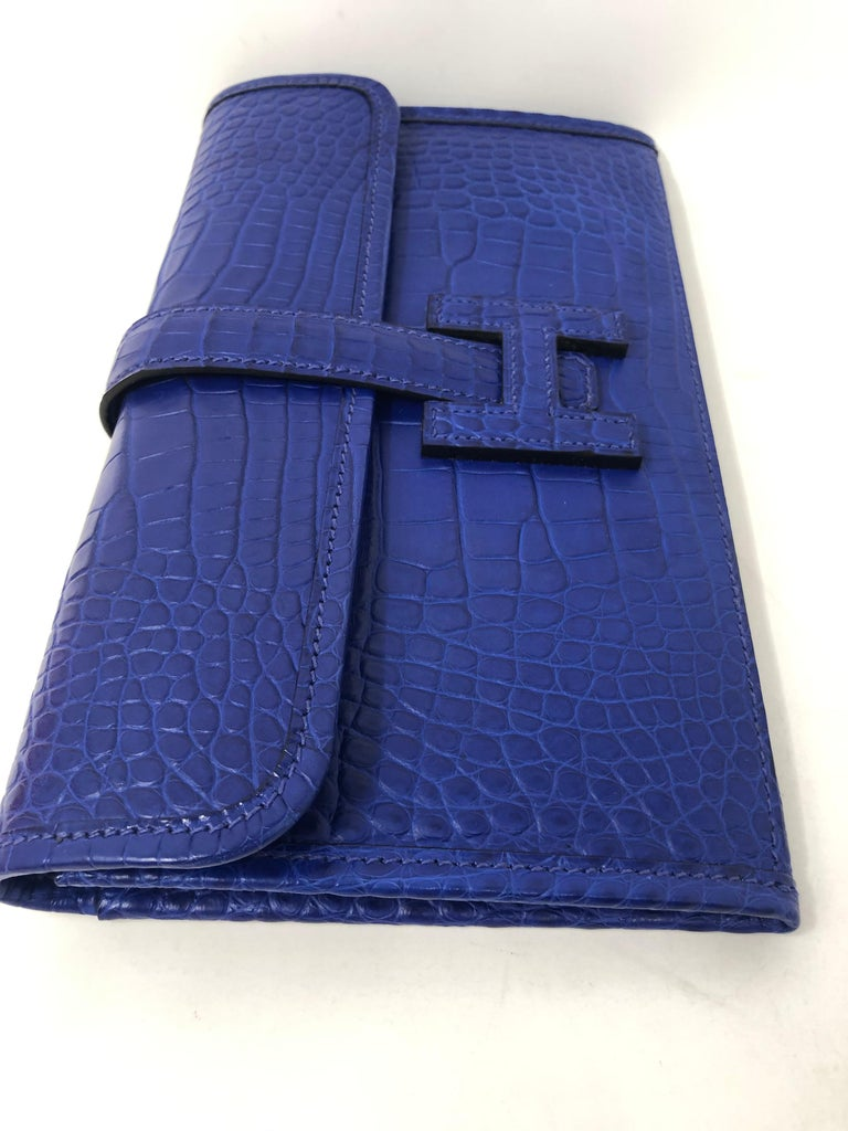 Hermes Alligator Bleu Electrique Jige Duo Wallet   For Sale 1