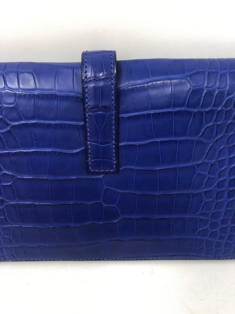 Hermes Alligator Bleu Electrique Jige Duo Wallet   For Sale 2