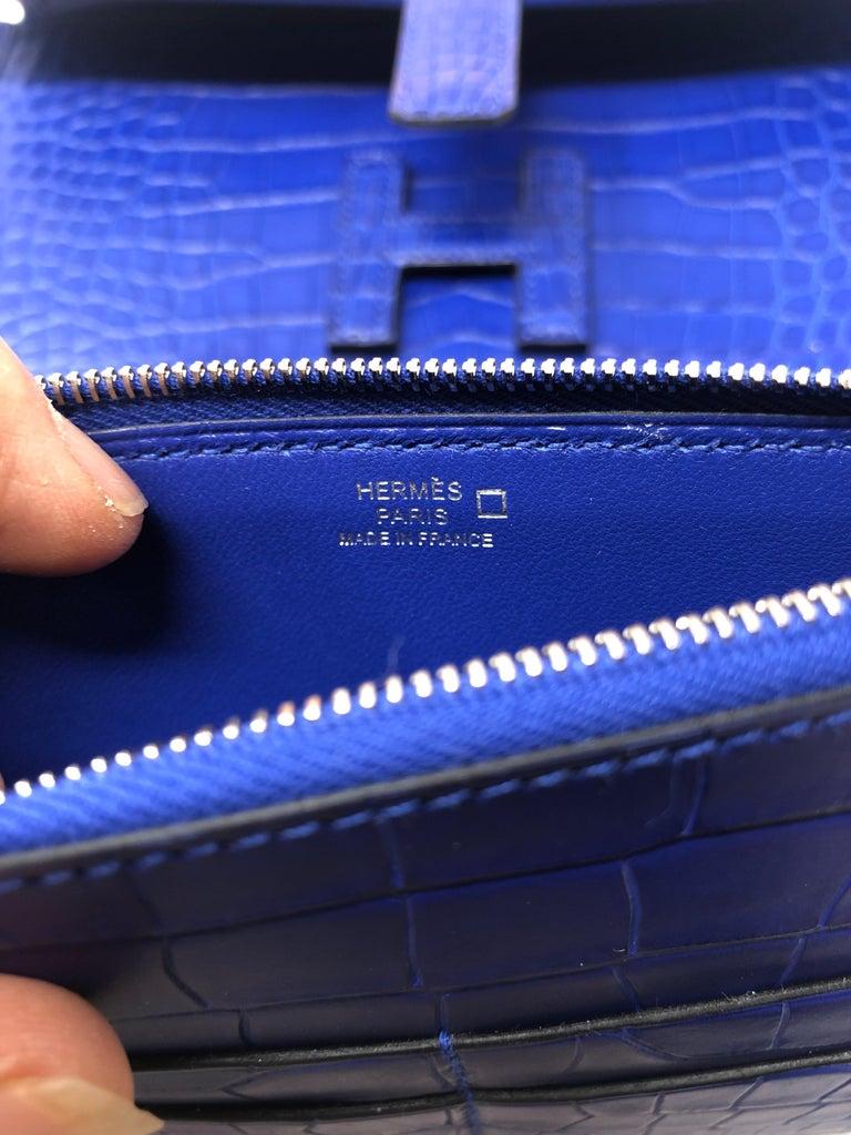 Hermes Alligator Bleu Electrique Jige Duo Wallet   For Sale 4