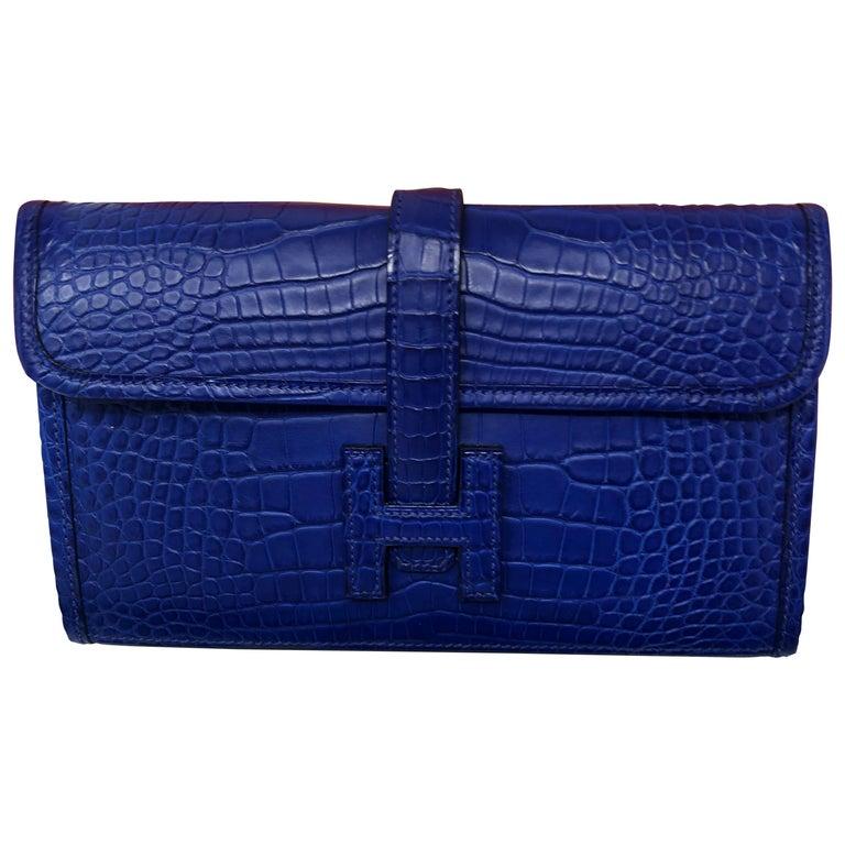 Hermes Alligator Bleu Electrique Jige Duo Wallet   For Sale