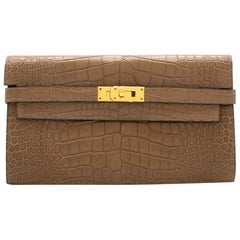 Hermes Alligator Mississippiensis Taupe Kelly Long Wallet 20cm