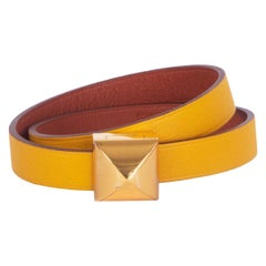 HERMES Ambre Cuivre yellow / Brique Swift MEDOR INFINI Double Tour Bracelet T2