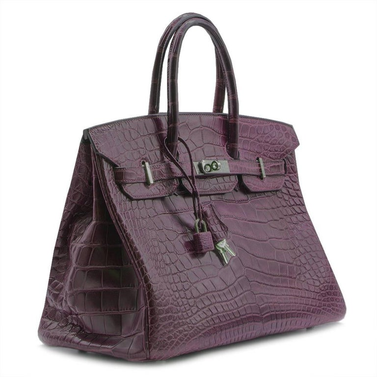 Hermes Amethyst Alligator 35cm Birkin Bag  For Sale 6