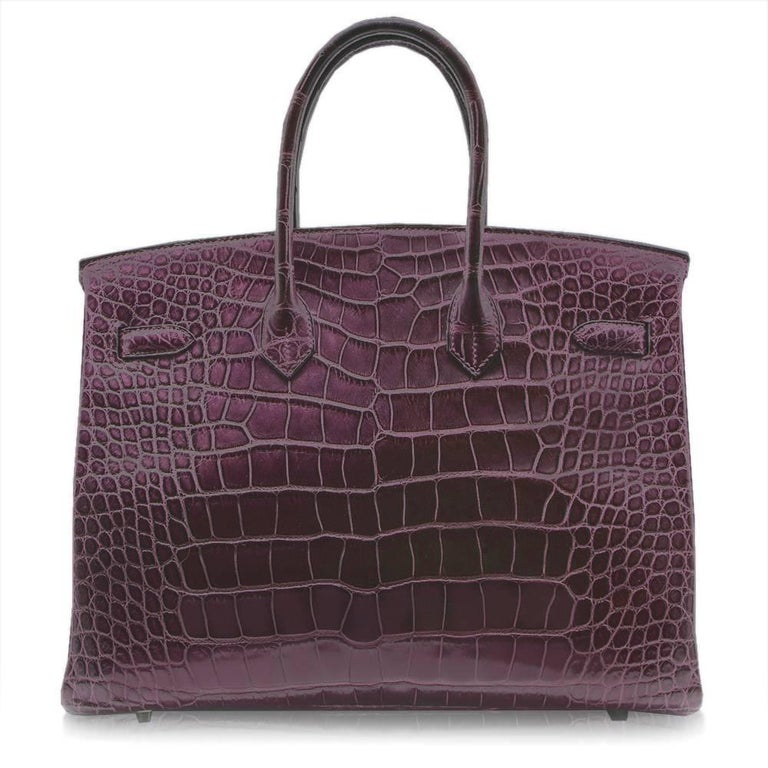 Black Hermes Amethyst Alligator 35cm Birkin Bag  For Sale