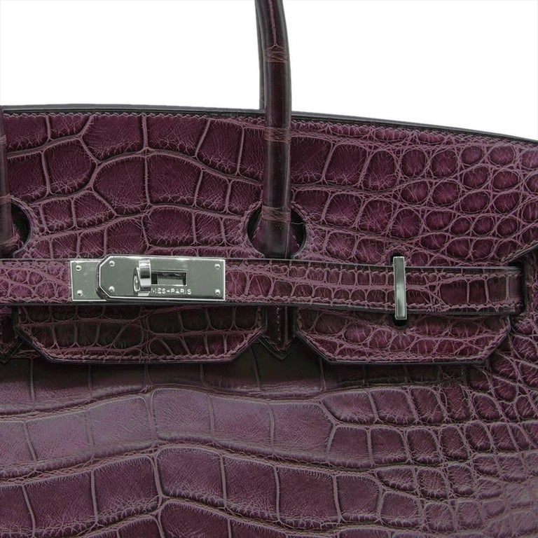 Women's Hermes Amethyst Alligator 35cm Birkin Bag  For Sale
