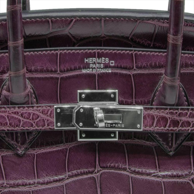 Hermes Amethyst Alligator 35cm Birkin Bag  For Sale 1