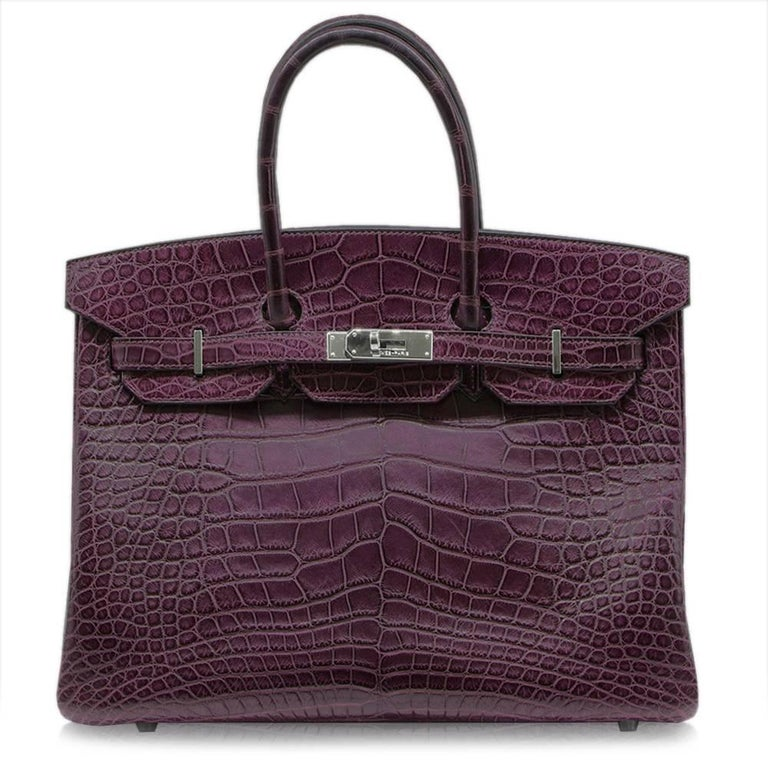 Hermes Amethyst Alligator 35cm Birkin Bag  For Sale 3