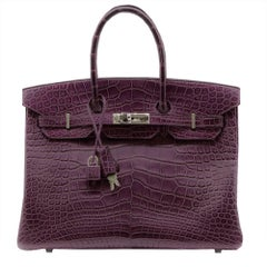 Hermes Amethyst Alligator 35cm Birkin Bag