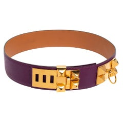 Hermes Anemone Epsom Leather Gold Hardware Collier de Chien Belt 85 CM