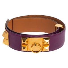 Hermes Anemone Epsom Leather Gold Hardware Collier de Chien Belt 85 CM