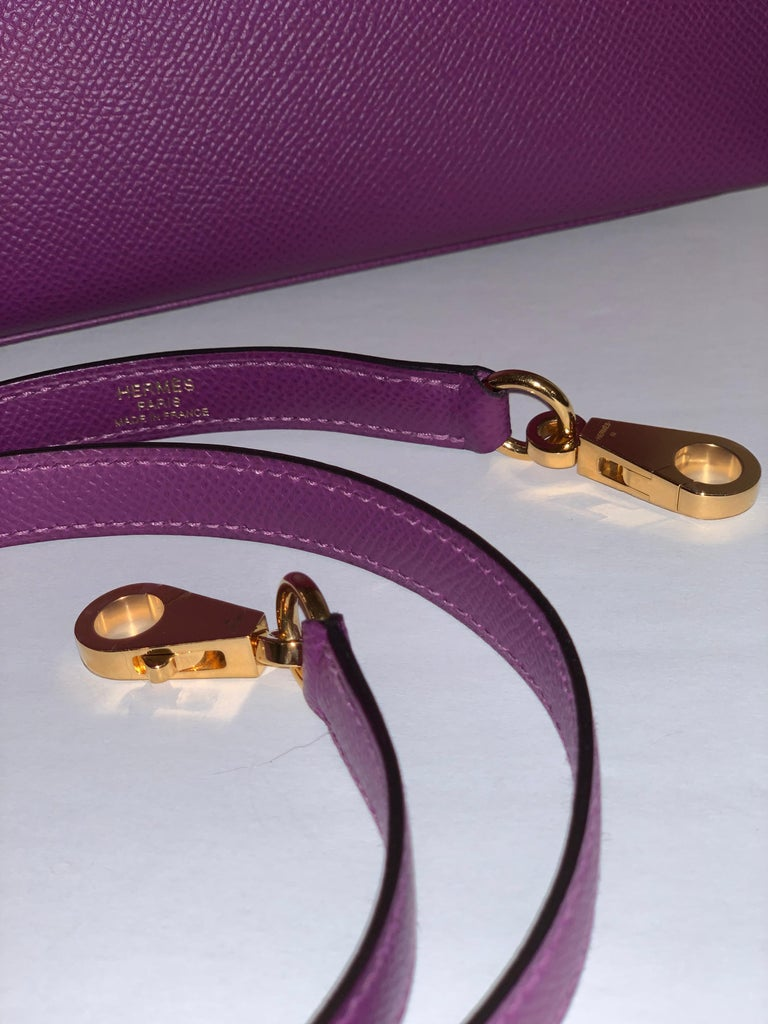 Hermes Anemone Kelly 25  Epsom Sellier Bag Gold Hardware For Sale 5