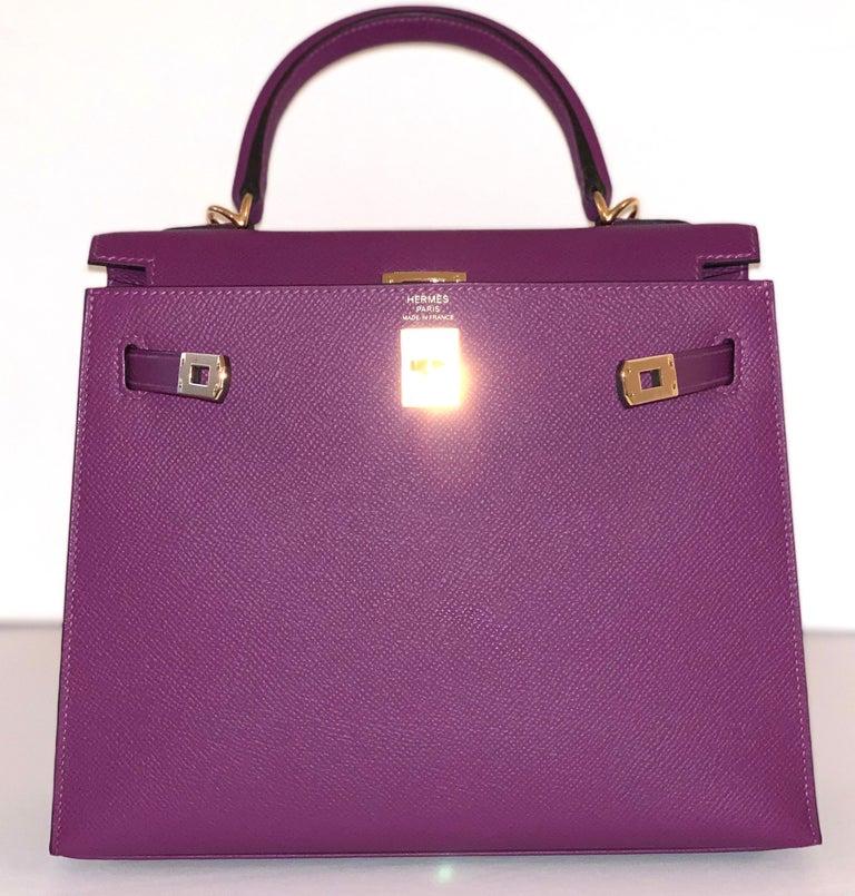 Hermes Anemone Kelly 25  Epsom Sellier Bag Gold Hardware For Sale 1