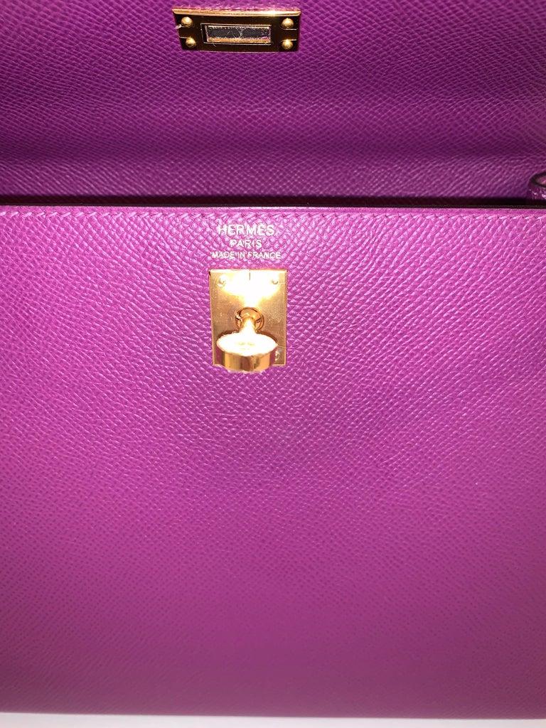 Hermes Anemone Kelly 25  Epsom Sellier Bag Gold Hardware For Sale 2