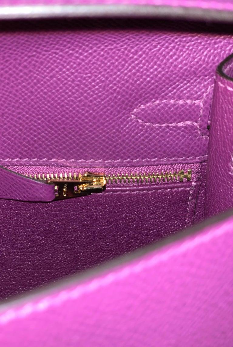 Hermes Anemone Kelly 25  Epsom Sellier Bag Gold Hardware For Sale 4